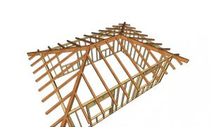 Стропильная система вальмой четырехскатной крыши