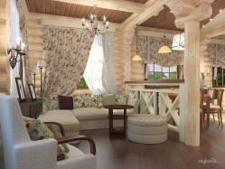 Кантри — легкие шторы в гостиную