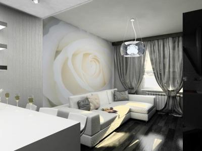 Дизайн зала в черных тонах