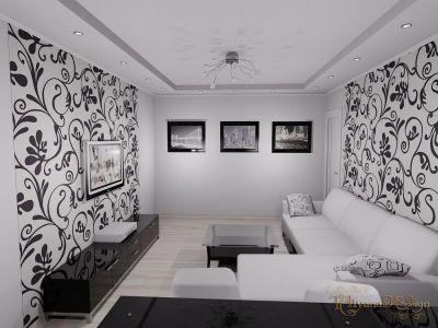 Дизайн залу в будинку, в чорно-білих тонах