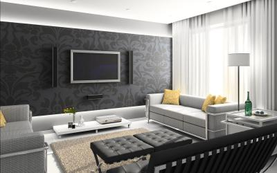 Дизайн залу в будинку в чорних тонах