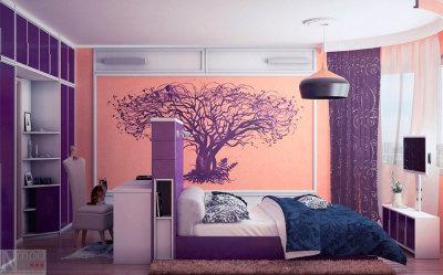 Дизайн залу в будинку у фіолетових тонах