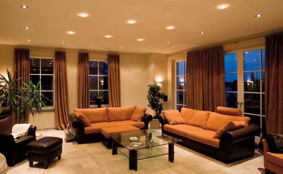Дизайн залу в будинку в коричневому кольорі