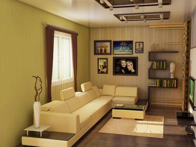 Дизайн залу в будинку в коричневих кольорах