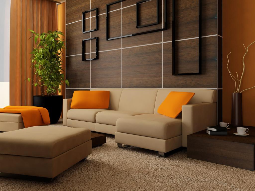Дизайн зала в доме в коричневых тонах
