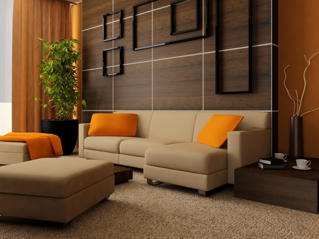 Дизайн залу в будинку в коричневих тонах