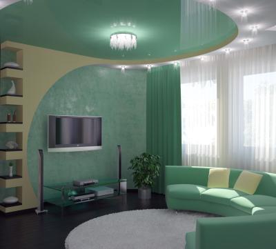 Дизайн залу в будинку в зелених тонах
