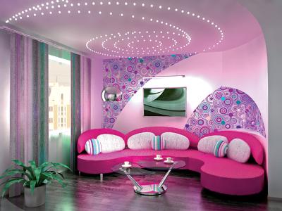 Дизайн зала в фиолетовых тонах