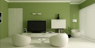 Дизайн зала в зеленом цвете