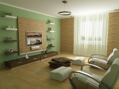Дизайн зала в зеленых тонах