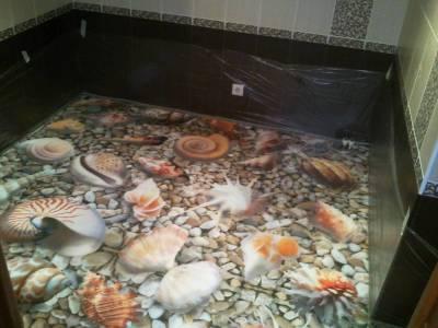 Наливные 3d полы в ванной комнате