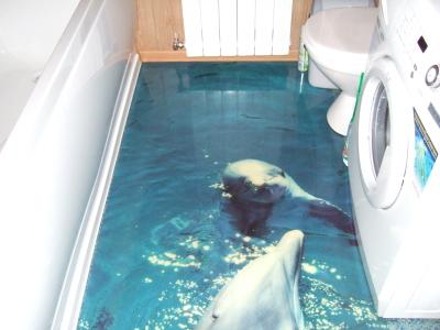 Наливные полы 3d в ванной комнате