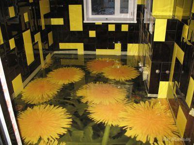 Заливной 3д пол в ванной