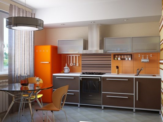 дизайн кухни 8 метров с холодильником фото