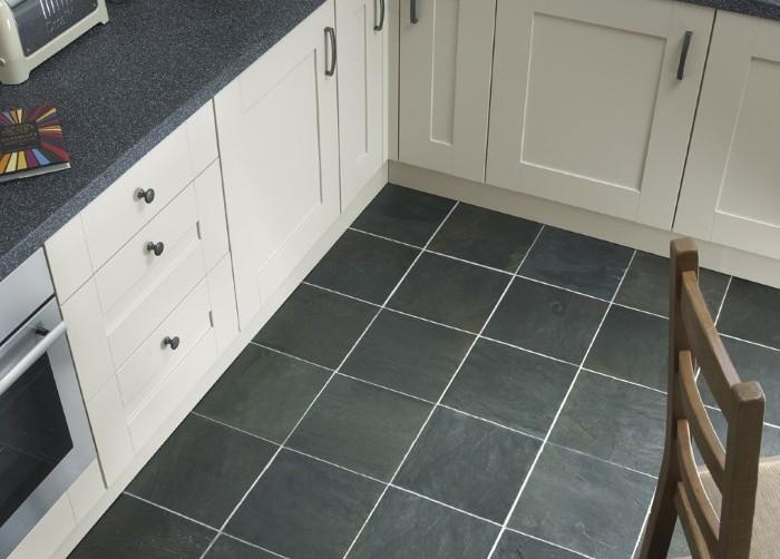 Black slate floor tiles kitchen