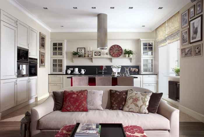 Дизайн кухни-студии фото 16 кв.м