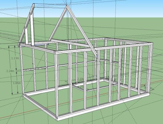 схема строительства каркасной бани
