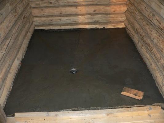 бетонный пол в бане своими руками