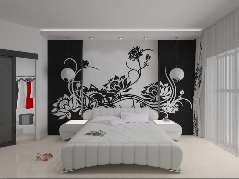 Рисунок на стене в спальне своими руками