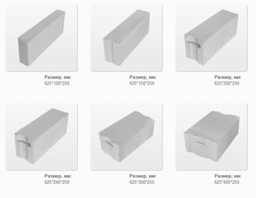 стандартные размеры прямоугольных блоков