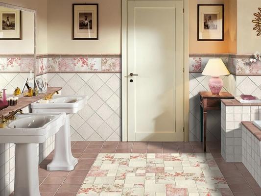 диагональная укладка плитки в ванной