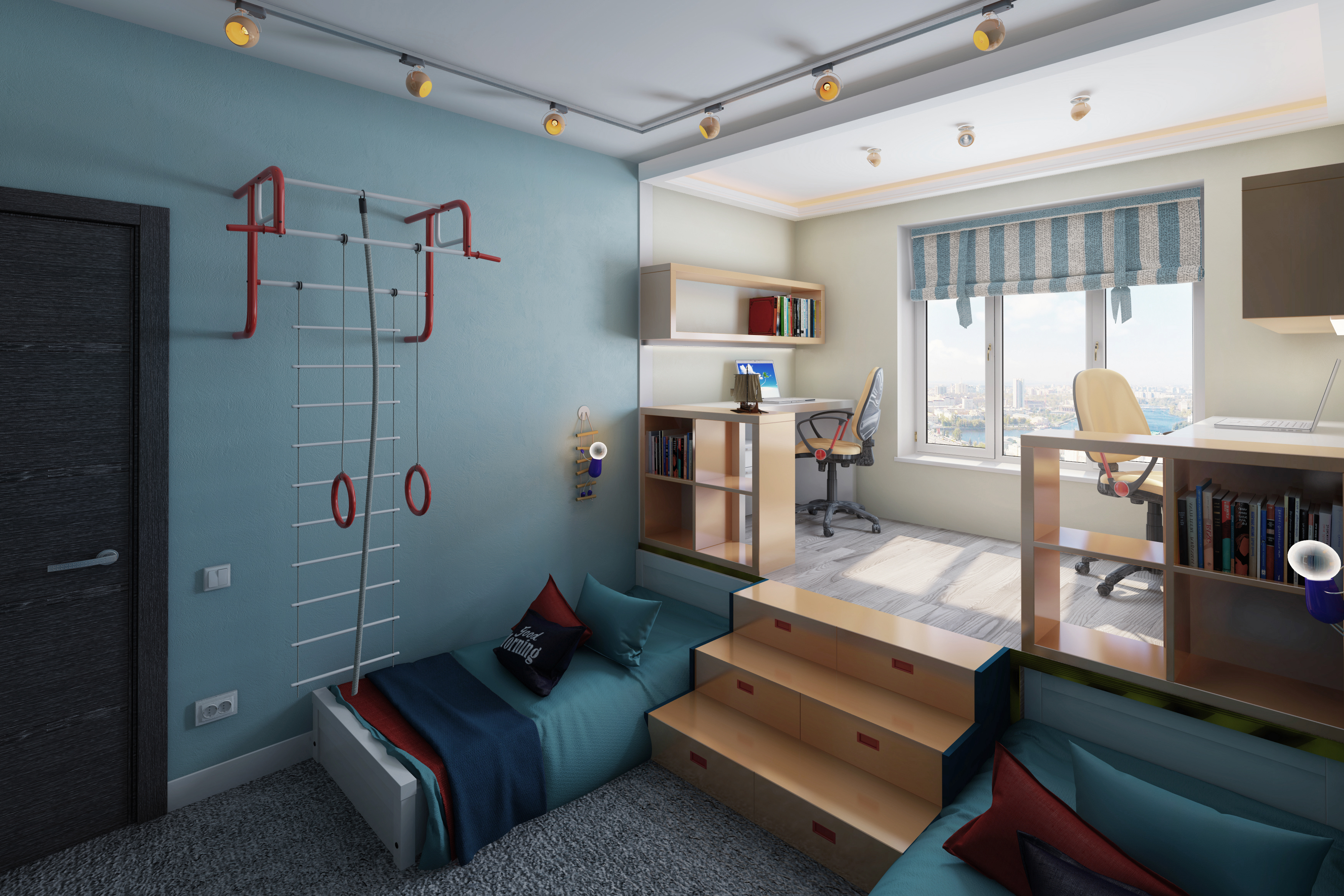 Дизайн проект комнаты для мальчика с