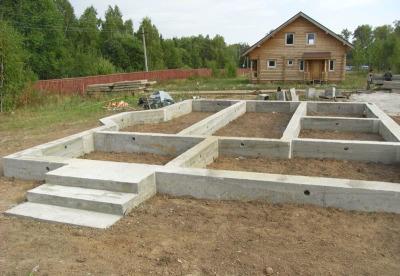 монолитный ленточный фундамент для дома из бруса
