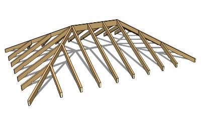 Стропильная система вальмой крыши