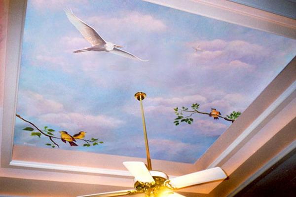 3d обои на потолок
