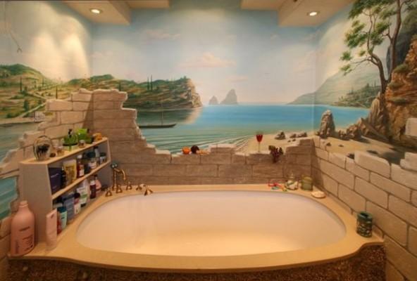3d обои на стены в ванную