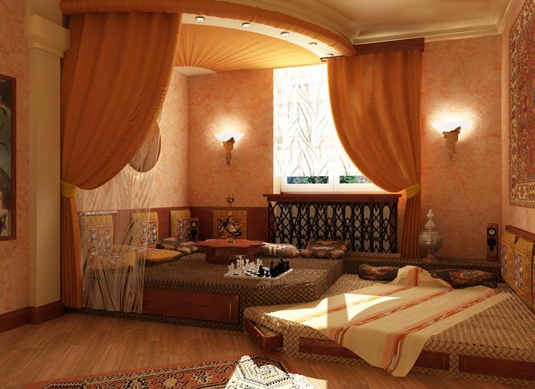 Дизайн зала в коричневых тонах
