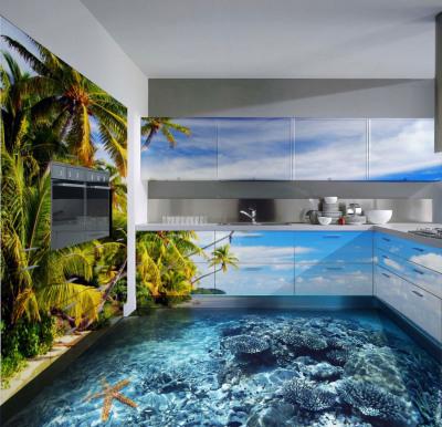 Наливные полы 3d на кухне