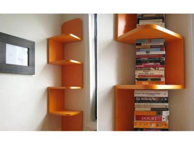 Навесные угловые полки на стену для книг