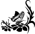 Трафарет бабочки и цветов для стены