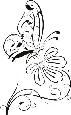 Трафарет бабочки с цветком
