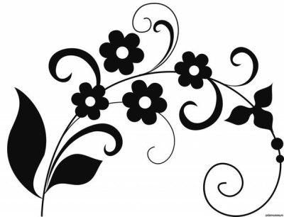 Трафарет цветов для стены