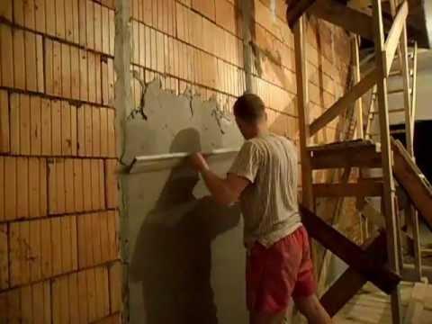 Видео как штукатурить кривые стены