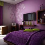 Фиолетовые обои в спальне фото