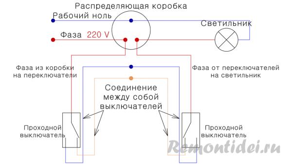 Cхема включения проходного выключателя