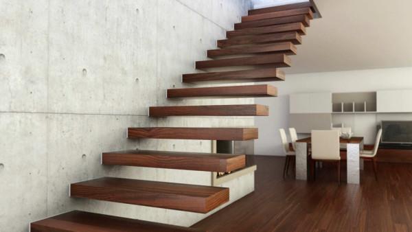 Интерьер лестницы в частном доме - больцевая лестница