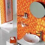 отделка ванной комнаты плиткой оранжевого цвета