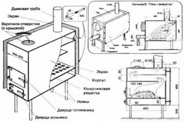 чертеж металлической печи бля бани