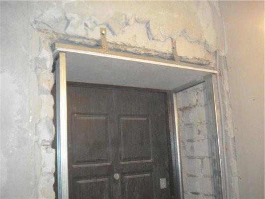отделка откосов двери из гипсокартона