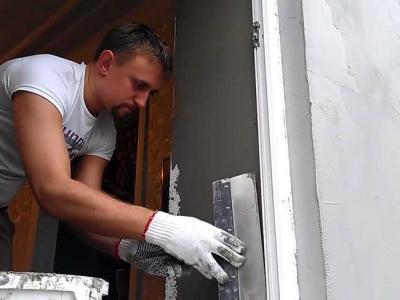 отделка откосов двери штукатуркой