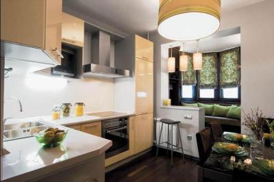 дизайн двухкомнатной квартиры кухня объединенная с балконом