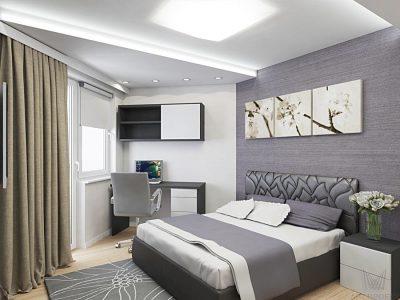 спальная комната в трехкомнтаной квартире