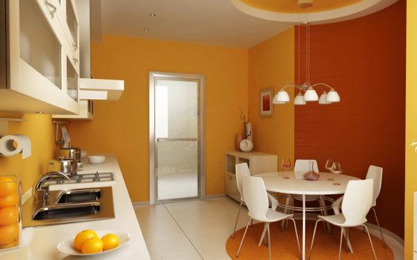 оранжевая кухня какой цвет обоев